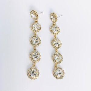 New! Crystals Rhinestones Linear Drop Earrings